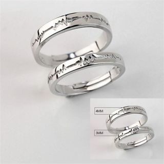 #2 Adjustable Crystal Stainless Steel Couple Promise Engagement Ring Wedding Band-Best Gift for Love