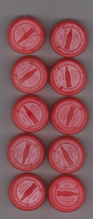 My COKE REWARD POINTS 10 CODES from Bottle Caps