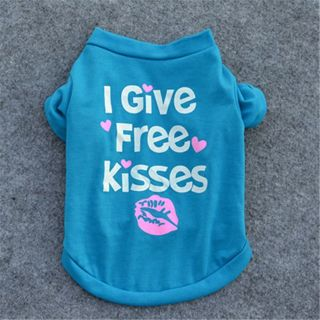 Heart Print I Give Free Kisses Short Sleeves Dog Coats Pet Tops Gift