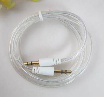 1 NEW STEREO AUDIO AUX CABLE CRYSTAL transparent wire Auxiliary Cord Jack Male-Male GIN