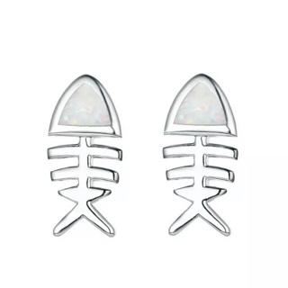 Fire Opal Fish Stud Earrings