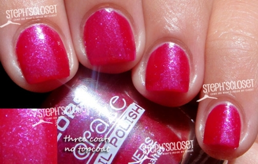 L.A pink and silver glitter color nail polish