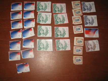 $46.00 Face Value Uncancelled US Postage Stamps on paper - $1, $2, $5 denominations