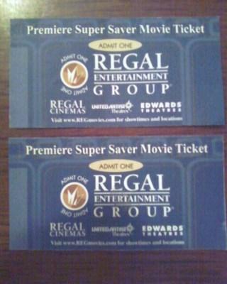 free 2 admit one premiere super saver movie tickets regal cinemas other dvds movies. Black Bedroom Furniture Sets. Home Design Ideas