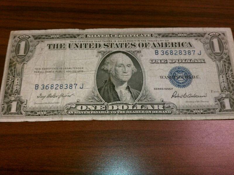 Free Rare 1935f Blue Seal 1 Silver Certificate Dollar Bill Money