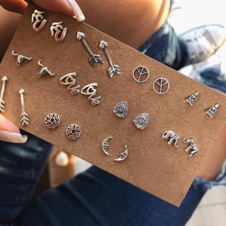 11Pairs Bohemian Fashion Retro Moon Elephant Buddha Flower Arrow Delicate Silver Earrings Set Women