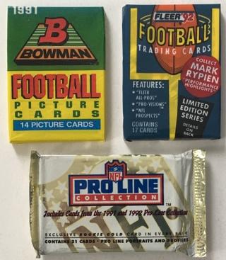 3 New Factory Sealed Football Card Packs 1991-1992 Fleer Bowman Pro Line HOF Rookies Possible