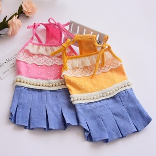 [GIN FOR FREE SHIPPING] Pearl Bow Pet Spring And Summer Bud Silk Yarn Strap Dog Dress