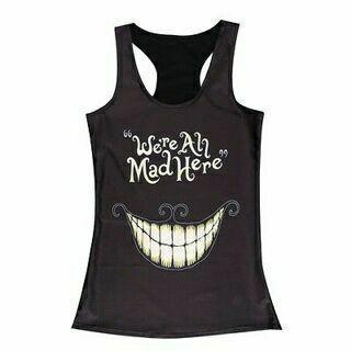 Women's Singlet Racerback Vest Tank Tops Sretchy Blouse Gothic Punk Rock T-Shirt