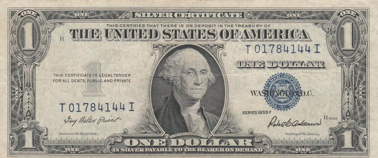 $1 Silver Certificate Series 1935 F