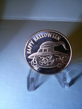 1 Ounce .999 Copper Round Happy Halloween