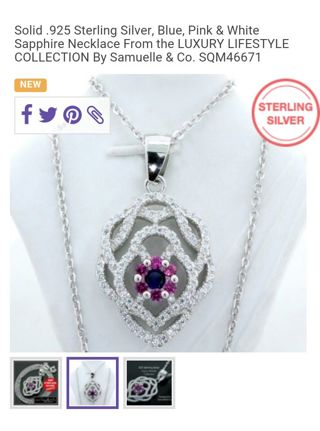 Sterling silver necklace with blue/pink and white sapphires