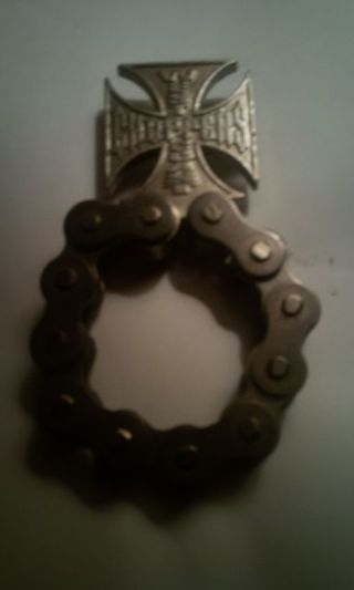 DON'S DAILY DEAL. WEST COAST CHOPPERS. BOTTLE OPENER .REAL MOTORCYCLE CHAIN.(HEAVY)