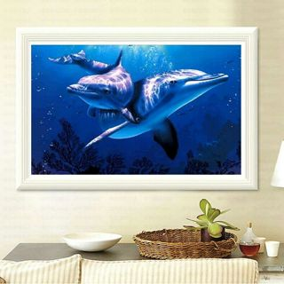 DIY 5D Diamond Mosaic Dolphins Diamond Painting Cross Stitch Kits Square Embroidery Home Decoration