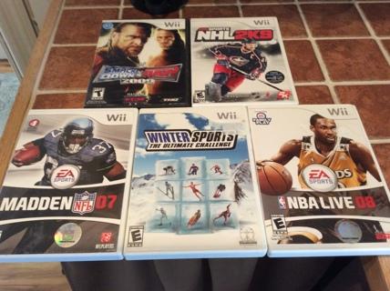 NINTENDO WII Video Game Lot MADDEN NFL 07 - NBA LIVE 08 - NHL 2K9 more