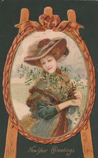 Vintage Used Postcard: Embossed: 1907 Happy New Year