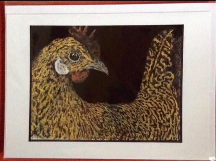 "WYANDOTTE CHICKEN - 5 x 7"" art card by artist Nina Struthers - GIN ONLY"