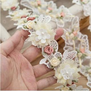 1 yard Rose Flower Lace Ribbon Trim Beading Wedding Dress Decoration Embroidery Lace Fabric