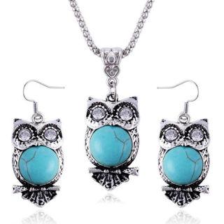 Women Fashion Rhinestone Jewelry Turquoise Choker Bib Chain Pendant Necklace Set