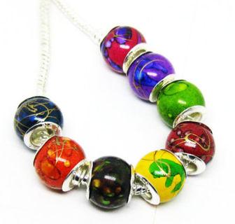 ✿7 Beautiful 925 Stamp Core Random Euro Beads fit Pandora Bracelet