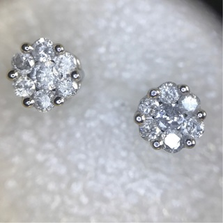 1/2ct Natural Diamond Cluster Solid 10k White Gold Stud Earrings