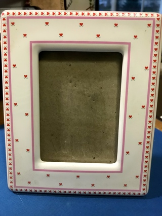 Ceramic Picture Frame with Hearts