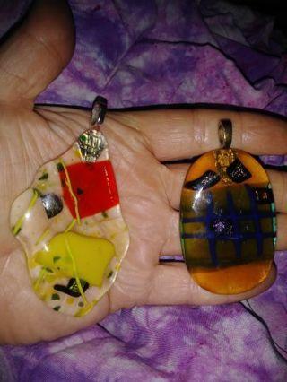 2 large Dichroic glass pendants