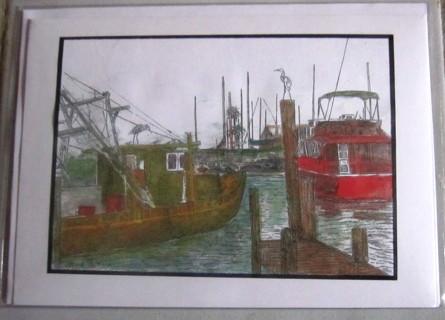 """5 x 7"""" ART CARD - boats/marina"""