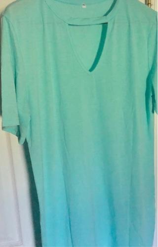 BNIP Sz 1X, Green Short Sleeved Blouse w/ Peephole Cutout in Front