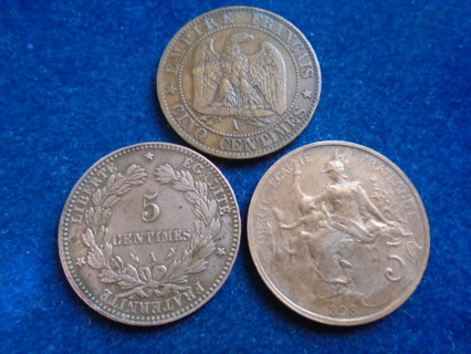 1861 & 1898 OLD FRENCH COINS...FULL DATES!