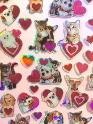 Kawaii cat and dog valentine sticker sheet