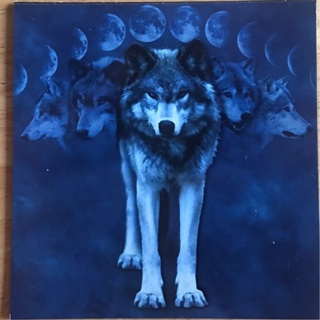 "WOLF WITH MOON PHASES - 3 x 4"" MAGNET"