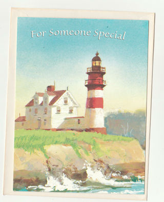 Hapy Birthday Card Unused With Envelope Light House