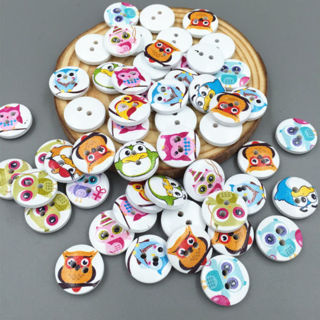 50Pcs Mixed Color Owls Wooden Buttons Sewing Scrapbook Craft 15mm