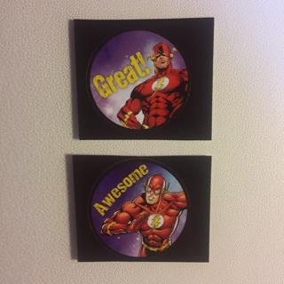 DC Comics Flash Round Stickers ~ 2 TOTAL ~ NEW!