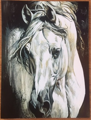 "Beautiful white horse - 4 x 3"" MAGNET"