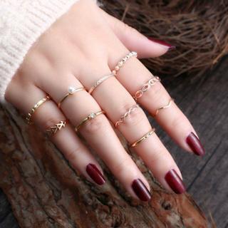 10Pcs/set Women Boho Vintage Crystal Pearl Finger Midi Band Punk Knuckle Rings