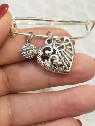 Hand made heart alex and ani style bracelet