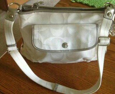 surprised stuffed used authentic coach signature purse water resistant Jacquard fabric leather trim