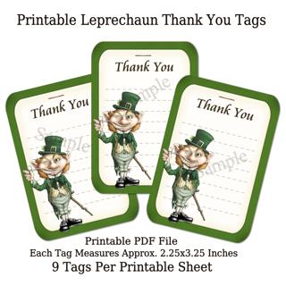Printable St. Patrick's Day Leprechaun Thank You Tags