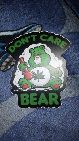 MATTE PRINTED WATERPROOF STICKER 3X3 INCHES DON'T CARE WEED BEAR