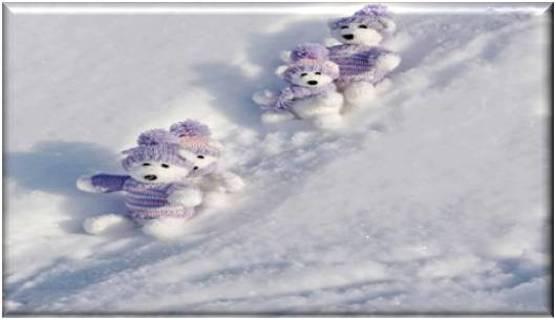 Teddy Bears in Snow Refrigerator Magnet