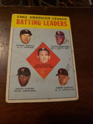 1963 (1962) Batting Leaders American league Mantle Hinton Robinson