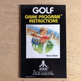 Golf video game instruction manual for Atari 2600