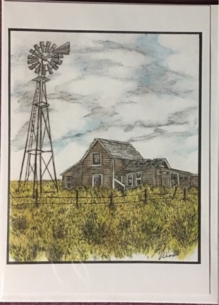 "ABANDONED BARN WITH WINDMILL - 5 x 7"" art card by artist Nina Struthers - GIN ONLY"