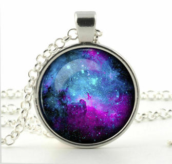 UNIVERSE NECKLACE Space Nebula Moon Galaxy Stars Astronomy Glass Charm Pendant