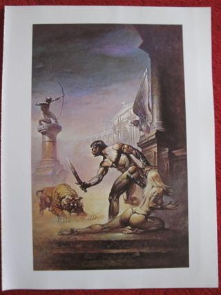 """vintage Boris Vallejo: I am a Barbarian - 11.5"""" x 8.5"""" Print"""