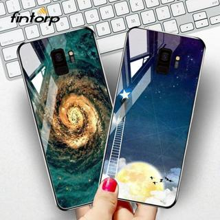 Tempered Glass Case For Samsung Galaxy S8 S9 Plus Silicone Stars Space Cover