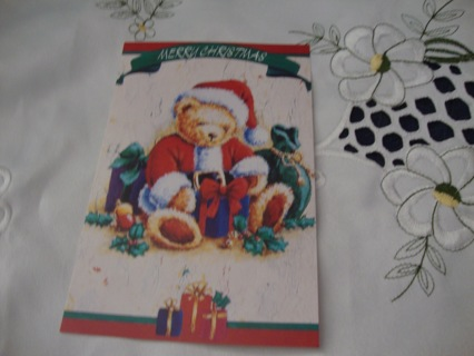 Teddy Bear Santa ~ Vintage Style Postcard ~ Free Shipping