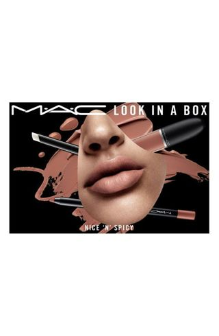 MAC, Nice N Spicy, Look in a Box Gift Set. Includes 3 Full Size Neutral Lip Products!